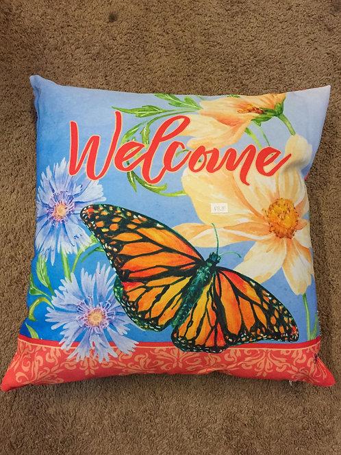 Garden themed pillow - Welcome