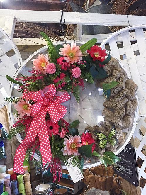 Burlap Wreath w/ Pink Bow & Butterfly
