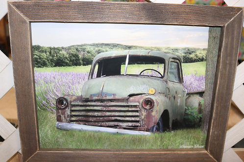Green Truck in lavender w/ wooden frame