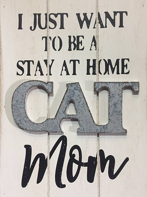 "Cat Mom"" wooden shelf sitter"