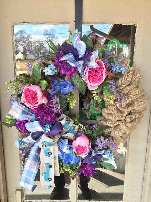 Spring floral wreath w/ peonies