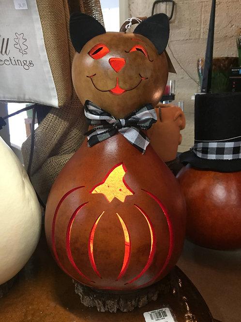 Meadowbrooke Gourd-Pumpkin Cat-Lighted