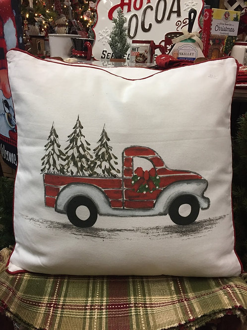 Red Truck w/trees pillow