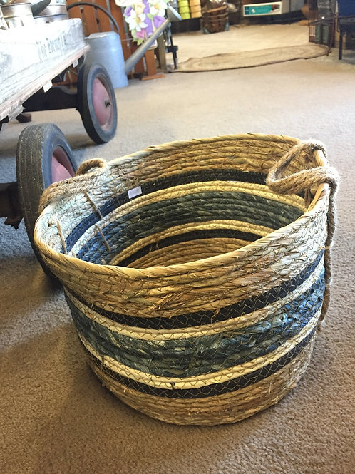 Small Basket with blue stripe and handle