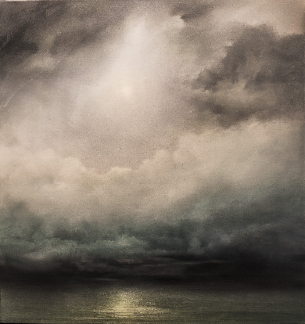painting of a stormy sky over sea
