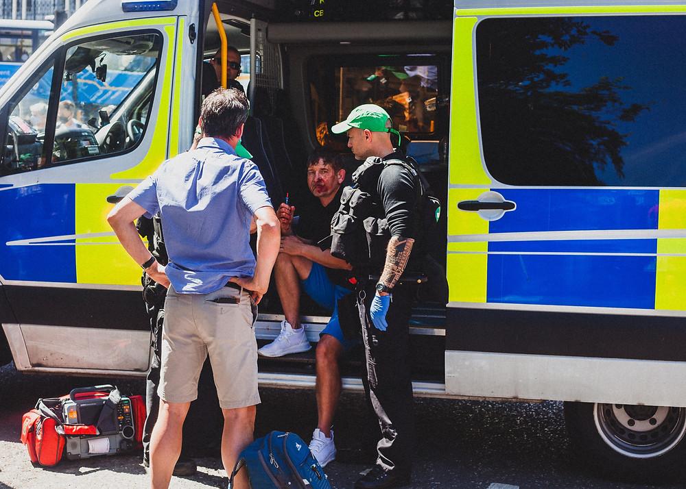 Man in a police van