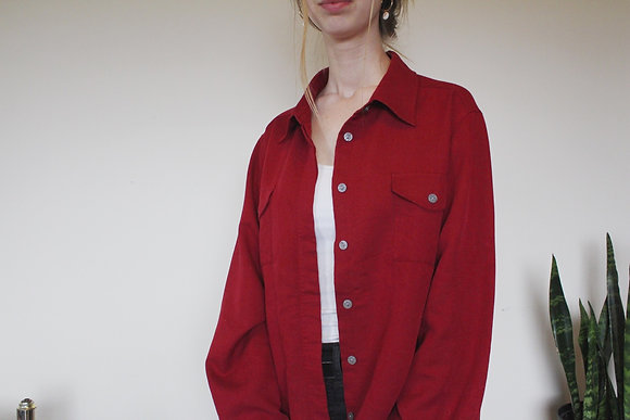 Red Faux Corduroy Button-down
