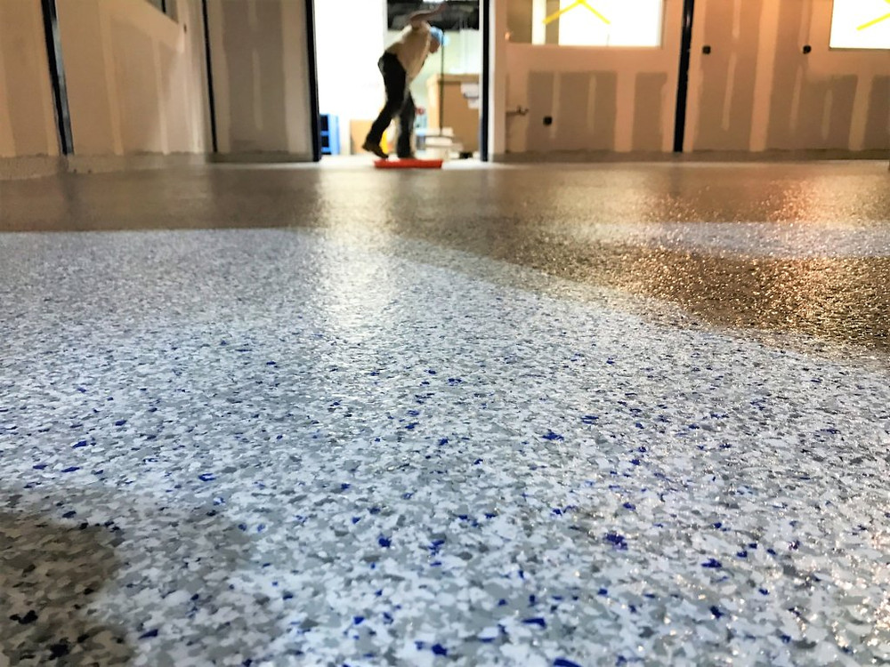 vinyl chip epoxy flooring
