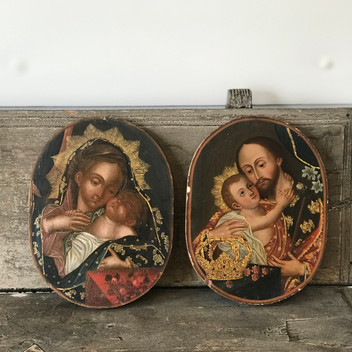 Pair of Relgious Paintings on Wood