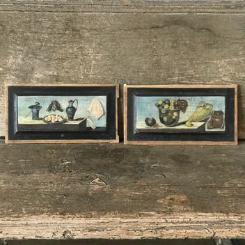 SOLD - Pair of Paintings on Wood from French Flea Market