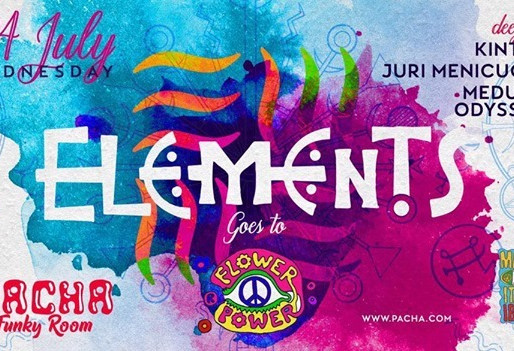 Elements Events in The Funky Room, Flower Power at Pacha 24 July 2019