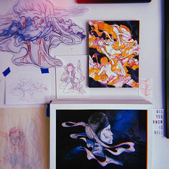 Cluttered studio wall. Old ideas & new i