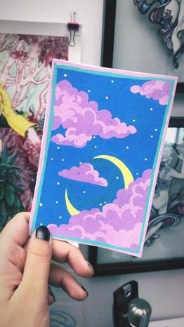 """""""LoFi"""" POSCA on watercolor postcard paper"""
