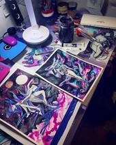 My messy studio desk before my solo exhi