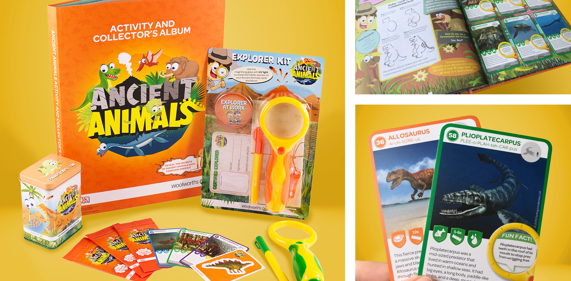 "Shop and collect kids programme ""Ancient Animals"" for Woolworths and Countdown. Includes collector cards and album, explorer kit, stickers, collector tin and associated packaging"