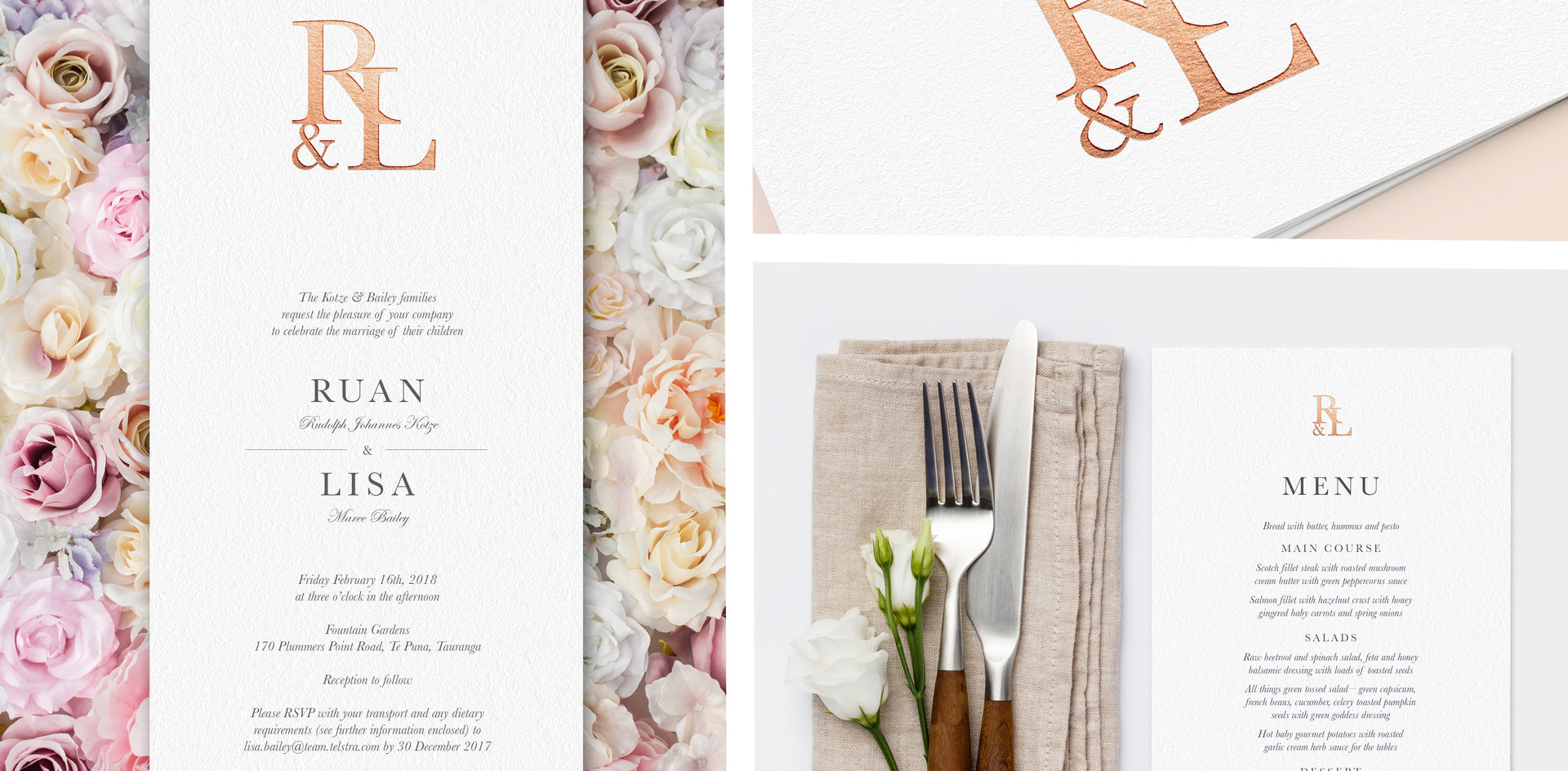 Personalised wedding stationery, including, invitation, menu, save the dates, seating chart, and additional signage