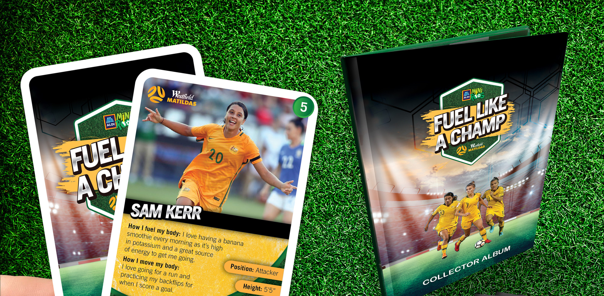 "Australian ""Matildas"" collector cards, sachets and album for Aldi Supermarket in association with MiniRoos"
