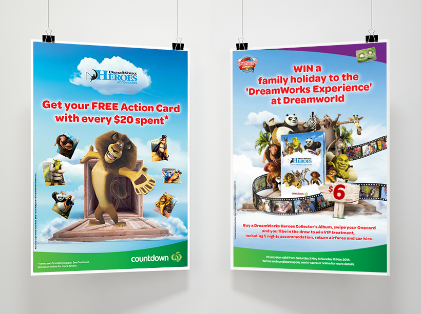 "Shop and collect programme for Countdown ""Dreamworks Lenticular Cards"", various POS items"