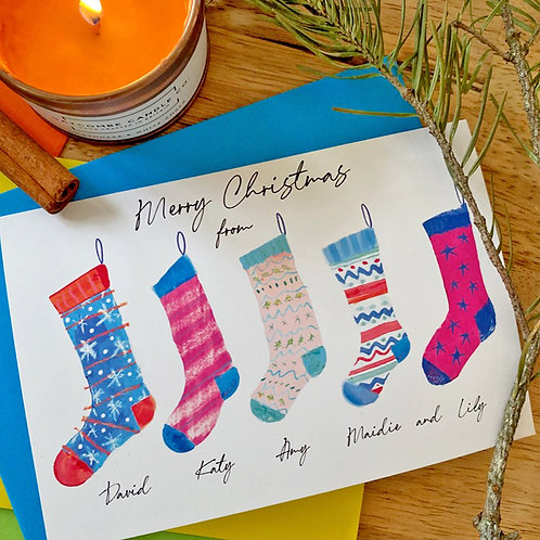 Family Stockings Personalised Card
