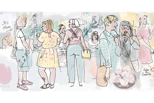 Saturday Market illustration - Giclee Print