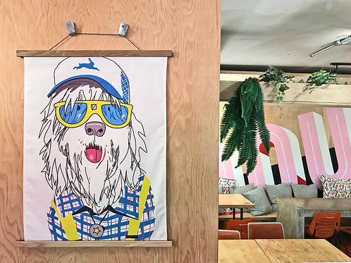 Bearded Collie Hipster Cloth Art.