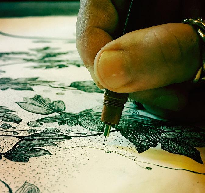 dessin à l'encre franck auguste pitoiset