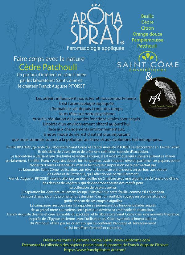Aromaspray Cèdre Patchouli collection capsule franck auguste pitoiset et le laboratoire saint come