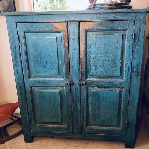 Petite armoire à panneaux, bleu français