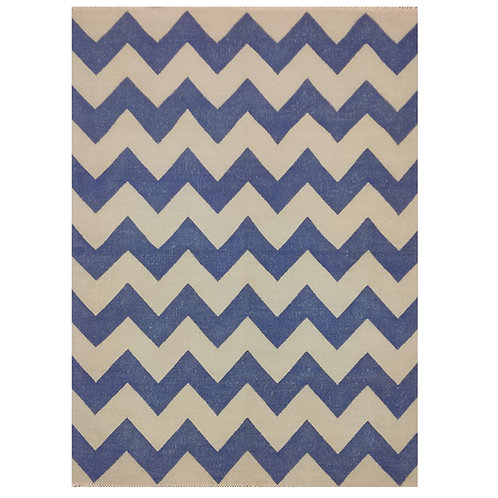 BLUE AND WHITE ZIG ZAG DHURRIE