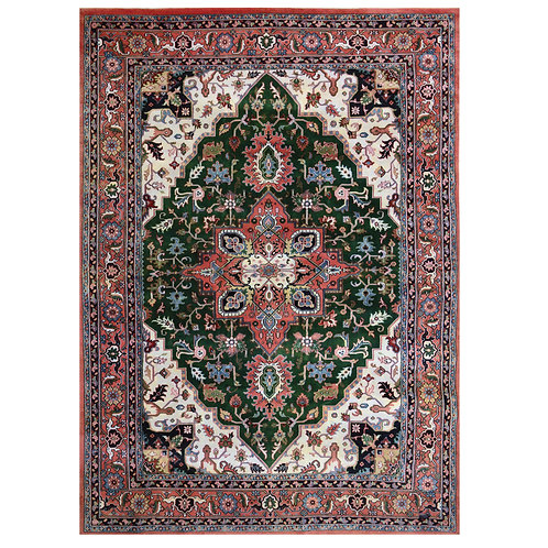 PINK AND GREEN HAND KNOTTED RUG
