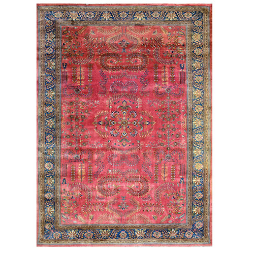 PINK AND BLUE HAND KNOTTED RUG