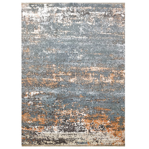 ORANGE AND GREY CONTEMPORARY RUG