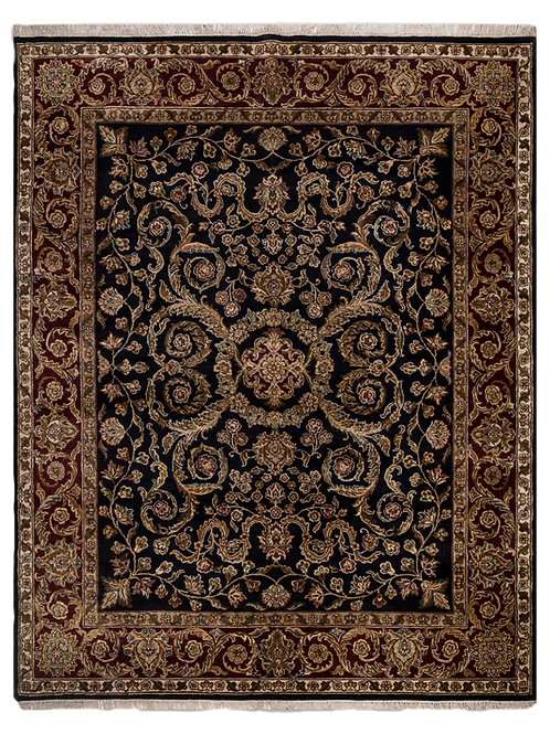 Traditional Hand-knotted Black & Red Rug