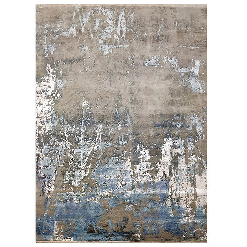BLUE AND WHITE CONTEMPORARY RUG