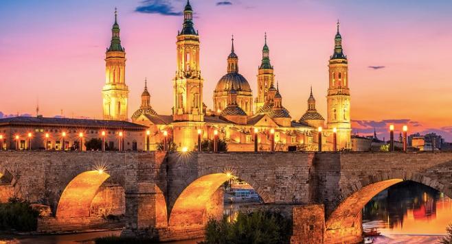 Basilica de Nuestra Señora del Pilar lit up and night