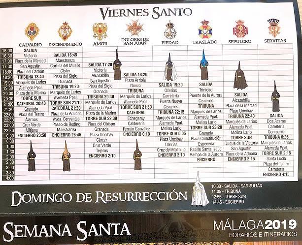 A timetable of Málaga processions