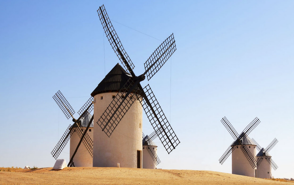 Windmills on the plains of La Mancha