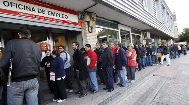 A queue at an employment office