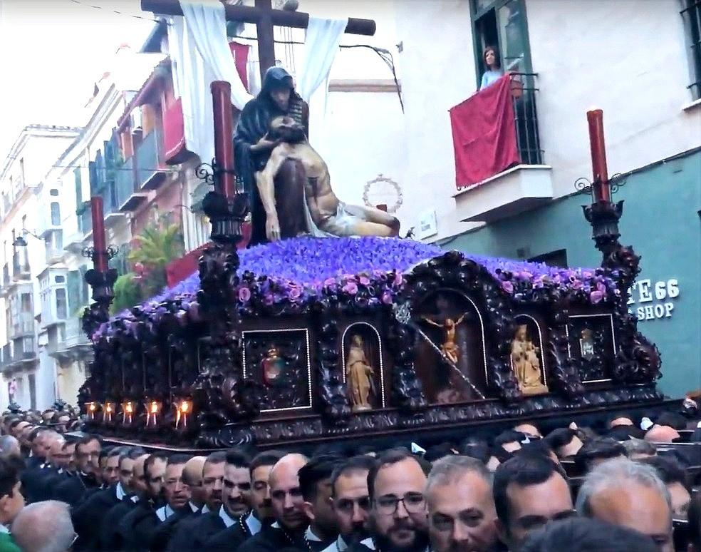 Religious processions in Málaga for Semana Santa.