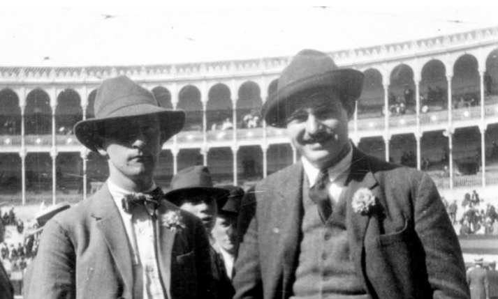 Ernest Hemingway (right) and Robert McAlmon attend a bullfight at the Plaza de Toros de la Fuente del Berro in Madrid, Spain (1923)