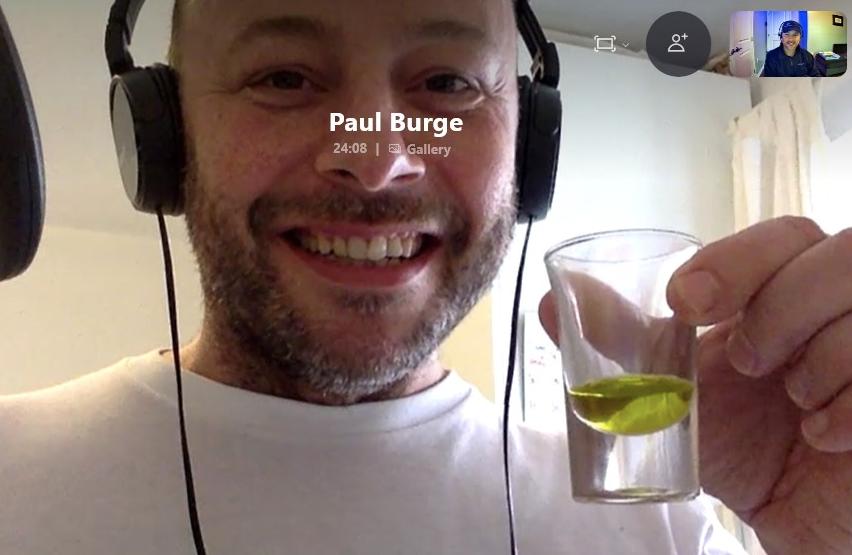 Paul Burge and Lucas Soler tasting olive oil