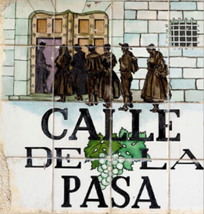 Calle de la Pasa tiled street sign