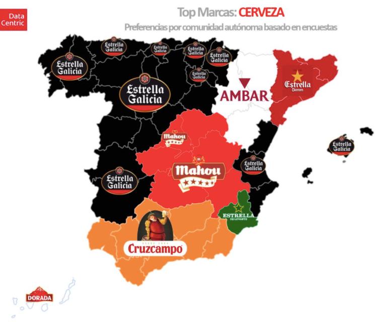 Beer preferences around Spain - Top Brands by region