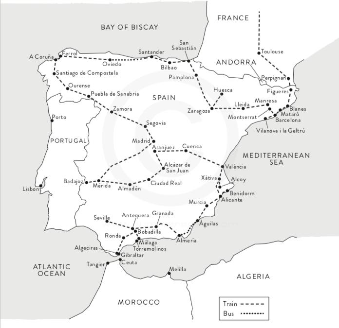 Tom's slow train route around Spain