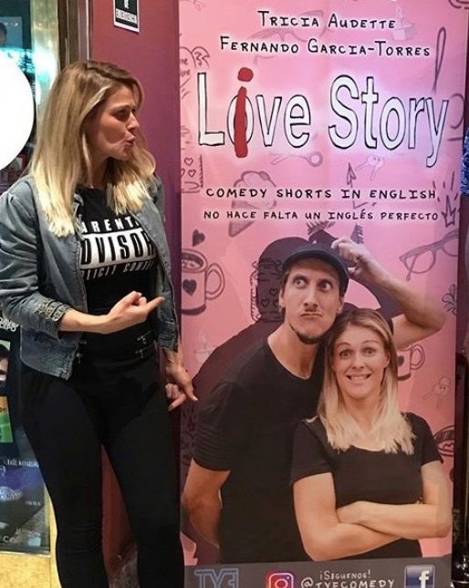 Tricia Audette promoting Live Story - Comedy Shorts in English