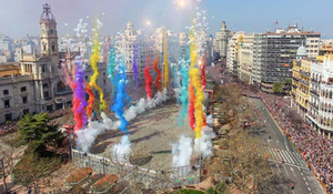 Colurful Mascleta fireworks at Las Fallas
