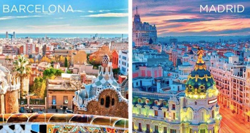 Barcelona and Madrid skylines