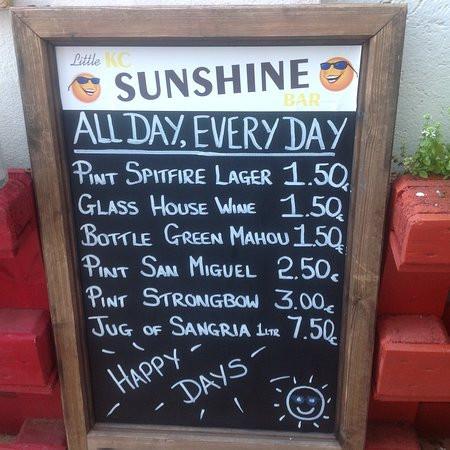 english menu in spain