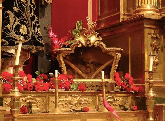 The bones of St Valentine in in the church of San Anton in Chueca, Madrid