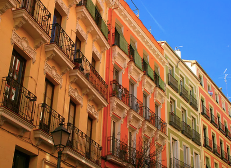 Colourful apartment buildings on Calle del Olivar